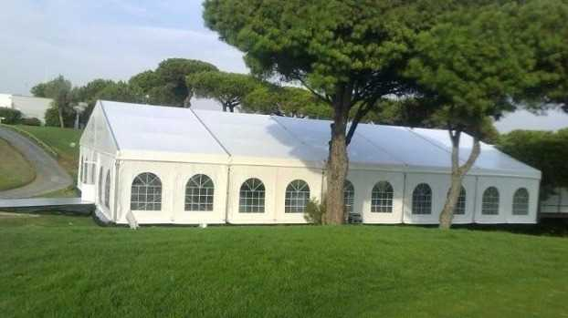 Large tents and exhibition halls